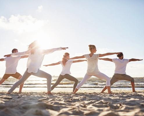 Yoga. Sea. Holidays. Healthy holidays.
